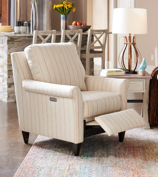 Room scene with Haven High Leg Reclining Chair and accessories