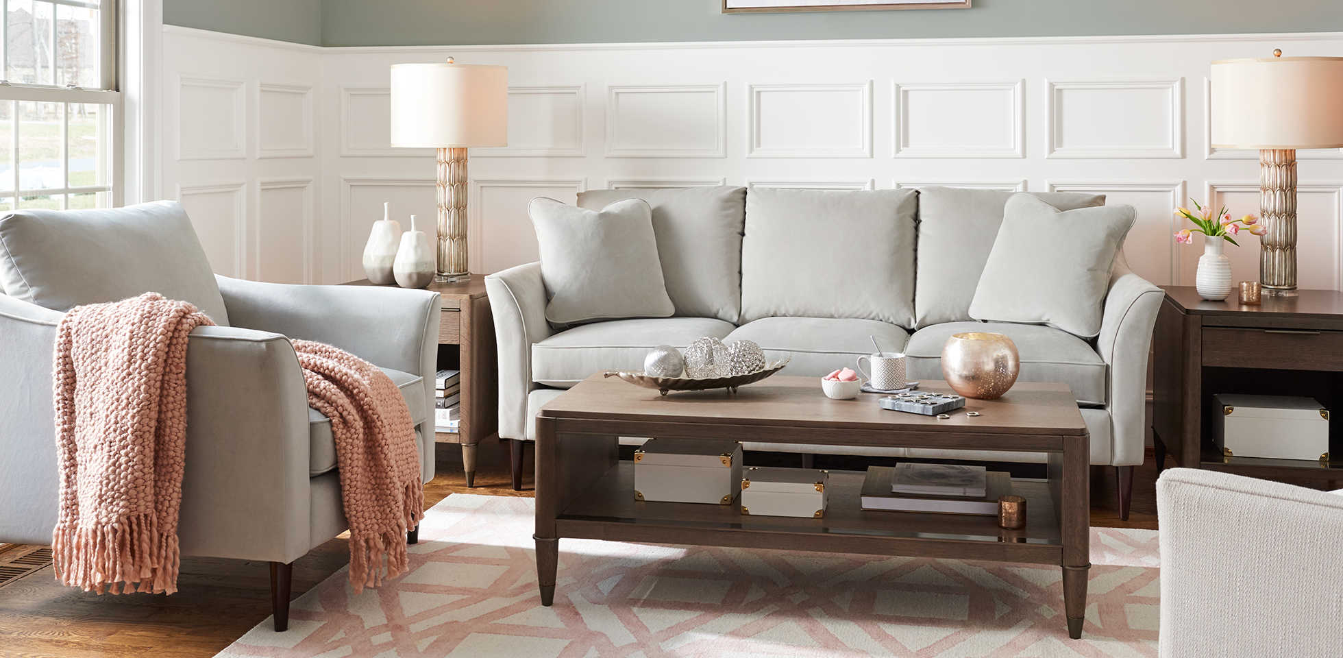 Living room scene with Violet Sofa and Chair with custom wood finish