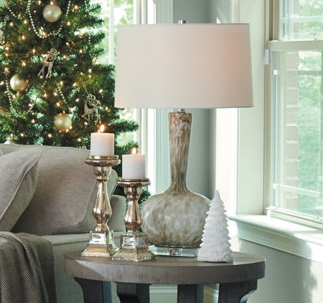 Closeup of Veronica Table Lamp in room decorated for Christmas