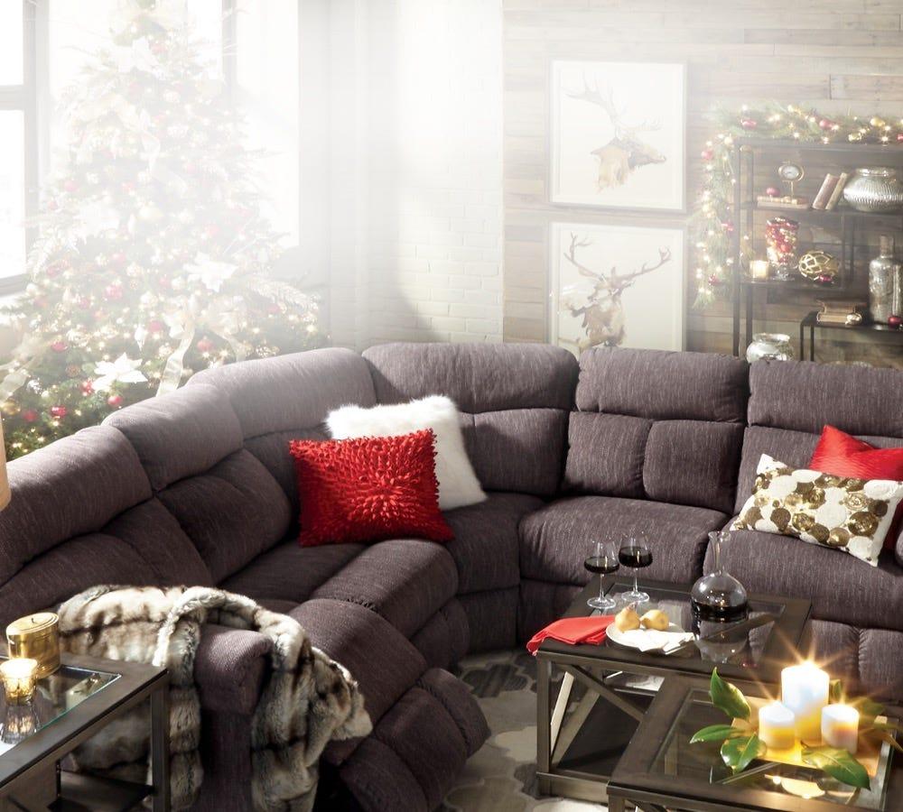 Christmas living room scene with Sheldon sectional