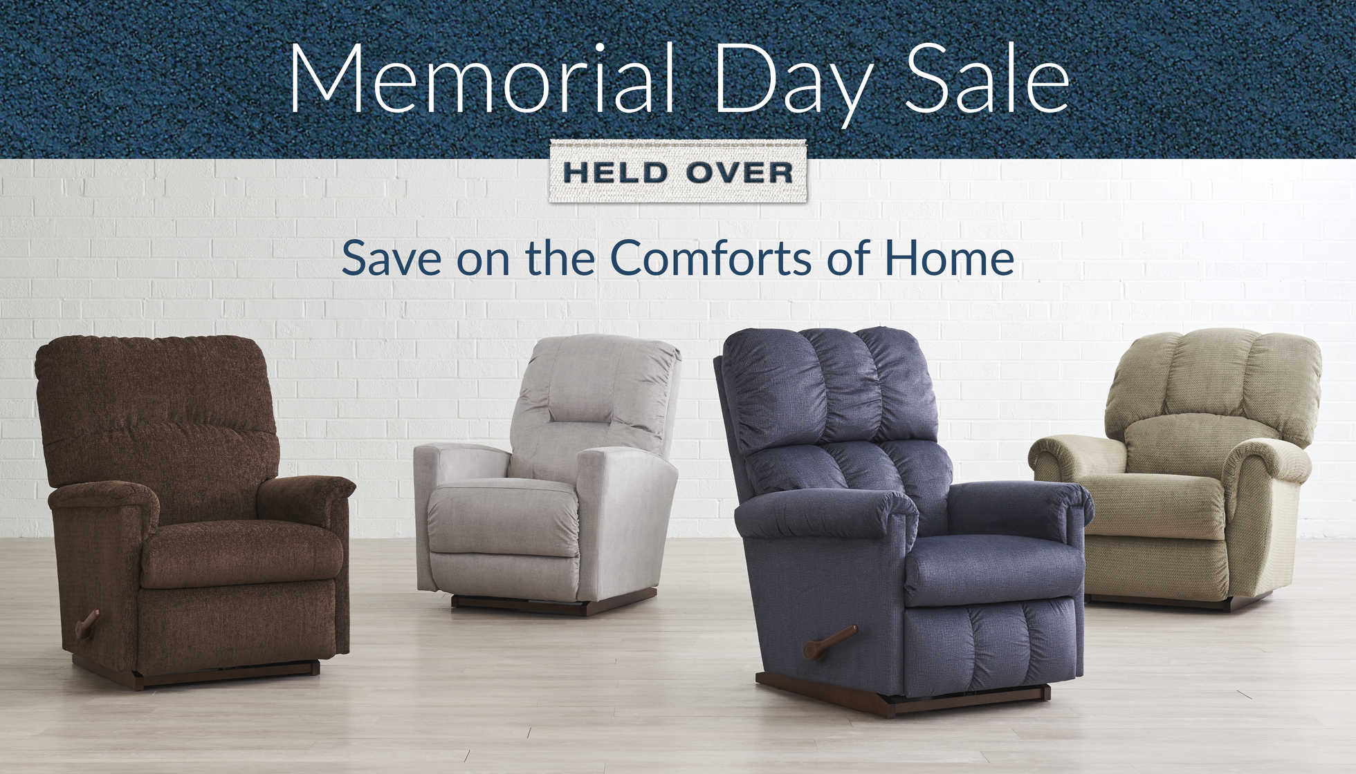 Memorial Day Sale - Save on the comforts of home. Empty room with Collage, Casey, Vail and Conner Rocking Recliners