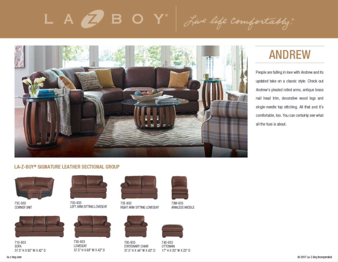 Product Manual  sc 1 st  La-Z-Boy : andrew sectional sofa - Sectionals, Sofas & Couches